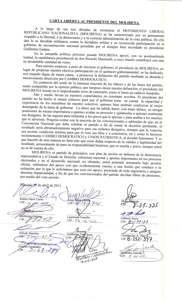 CARTA ABIERTA AL PRESIDENTE DEL MOLIRENA