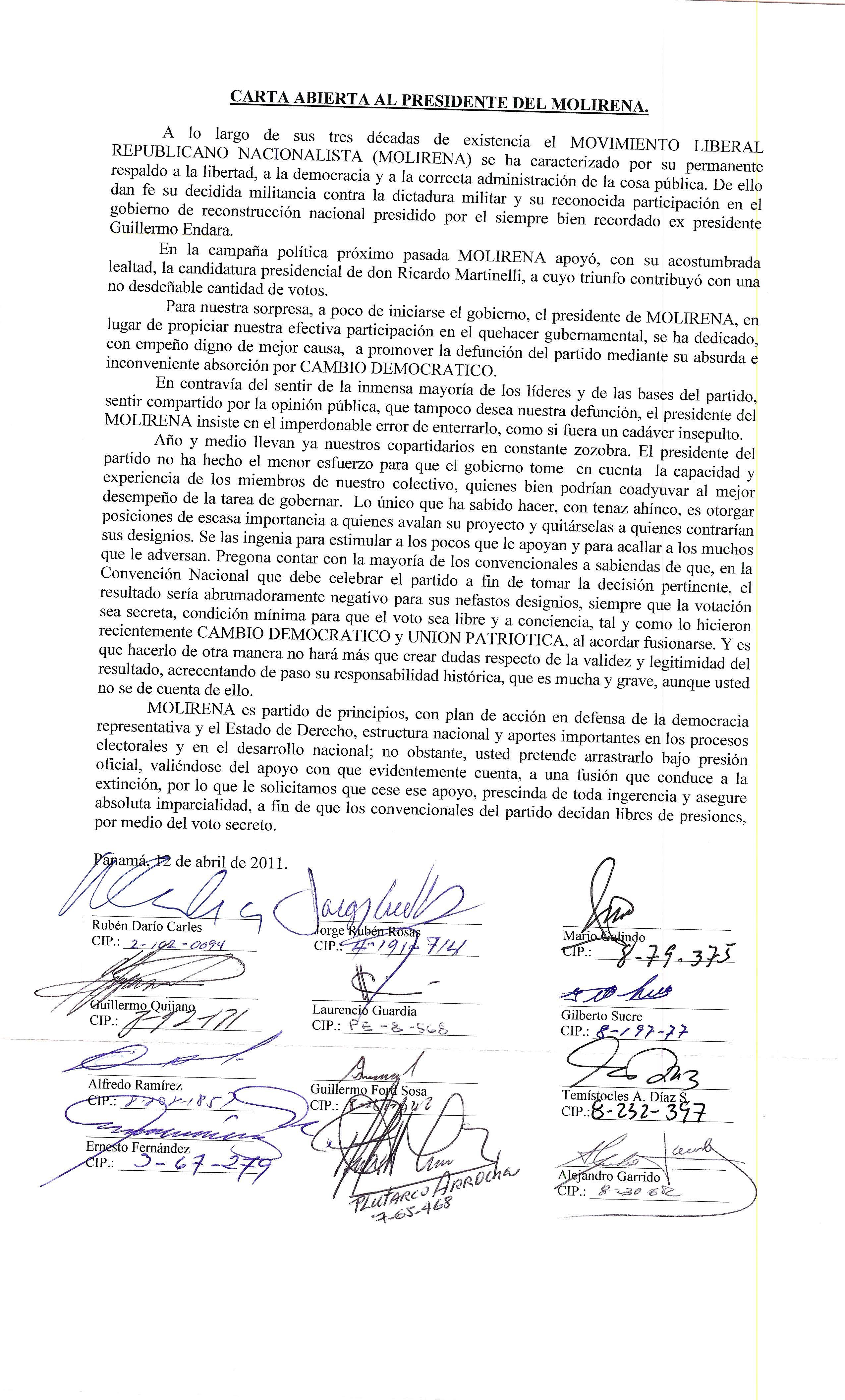 CARTA ABIERTA AL PRESIDENTE DEL MOLIRENA