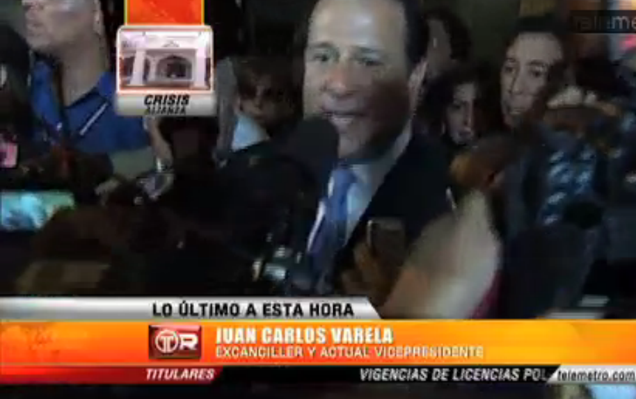 Declaraciones de Juan Carlos Varela posterior a su destitución como Canciller. Vídeo cortesía de Telemetro.com