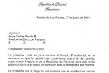 Martinelli invita a presidente electo al Palacio Presidencial