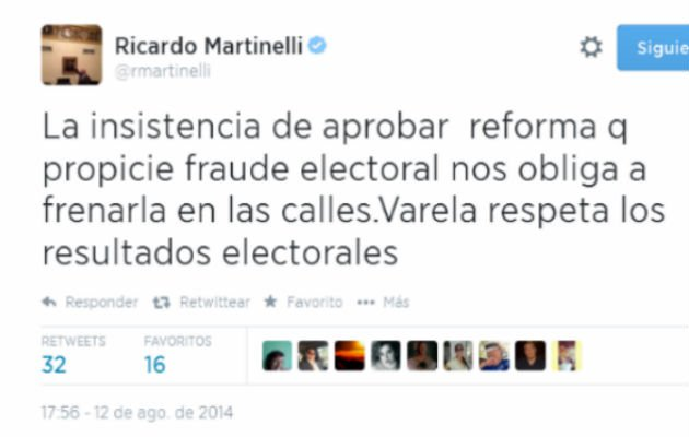 Martinelli alert sobre reformas electorales tupolitica for Resultados electorales ministerio