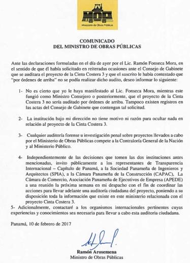 Comunicado del MOP – acerca de declaraciones de Fonseca Mora