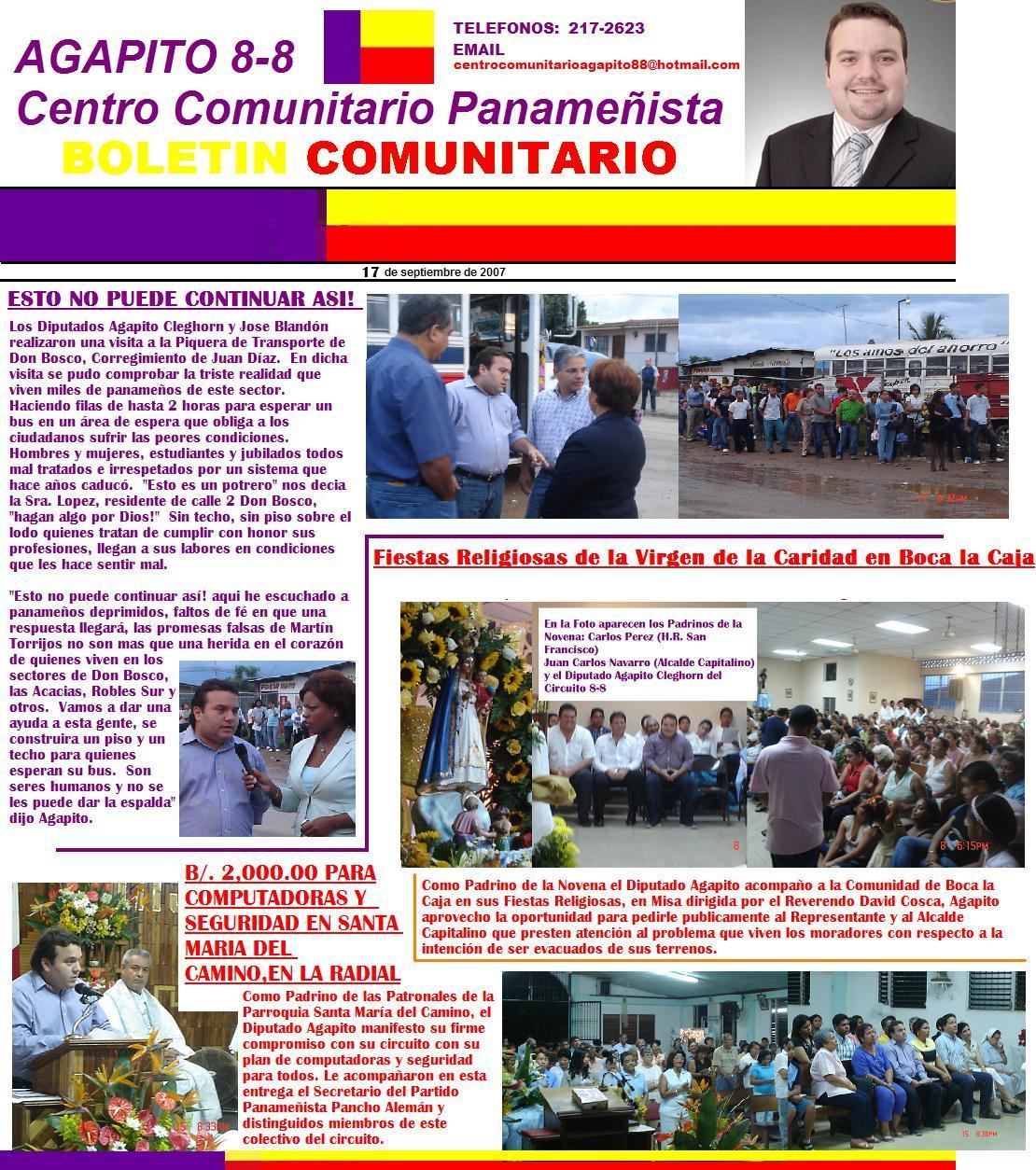 DIPUTADO AGAPITO CLEGHORN PRESENTA SU BOLETIN COMUNITARIO