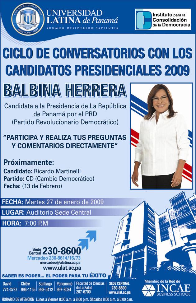 Instituto para la Consolidacion de la Democracia y tuPolitica.com te invitan al Primer Conversatorio Presidencial 2009 Balbina Herrera
