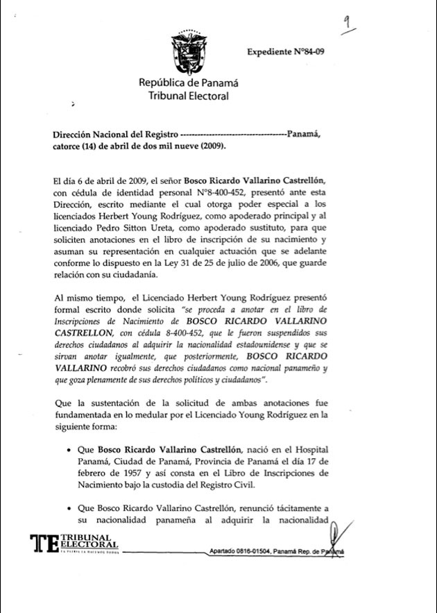 Resolución expedida por la Dirección Nacional de Registro Civil - Bosco Vallarino - Pagina 1