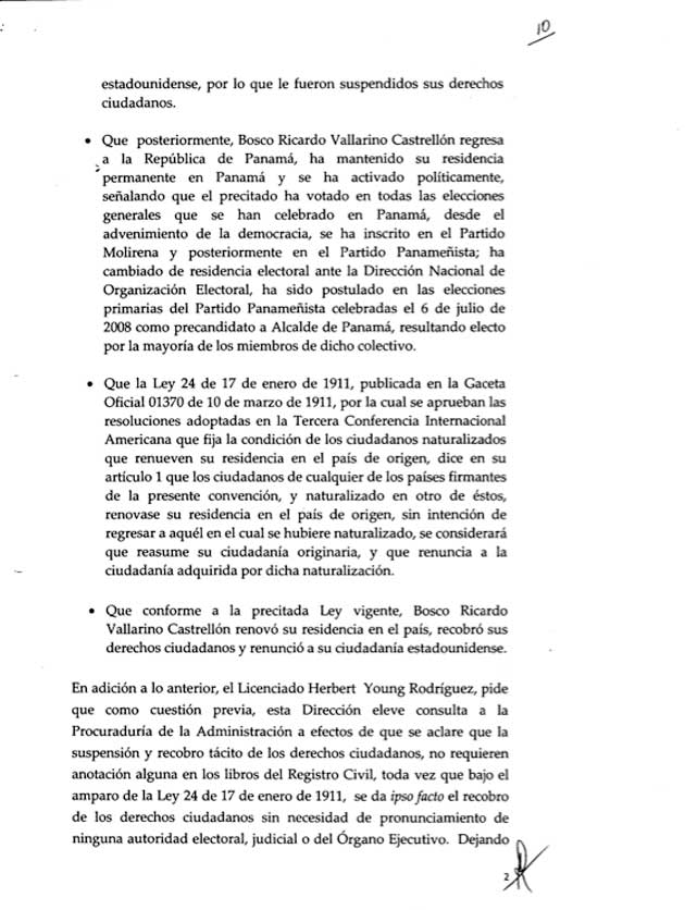 Resolución expedida por la Dirección Nacional de Registro Civil - Bosco Vallarino - Pagina 2