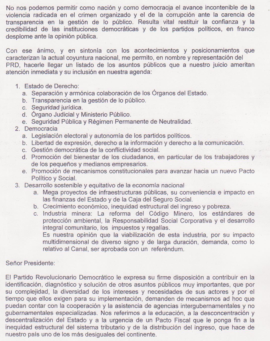 NOTA AL PRESIDENTE RICARDO MARTINELLI 001