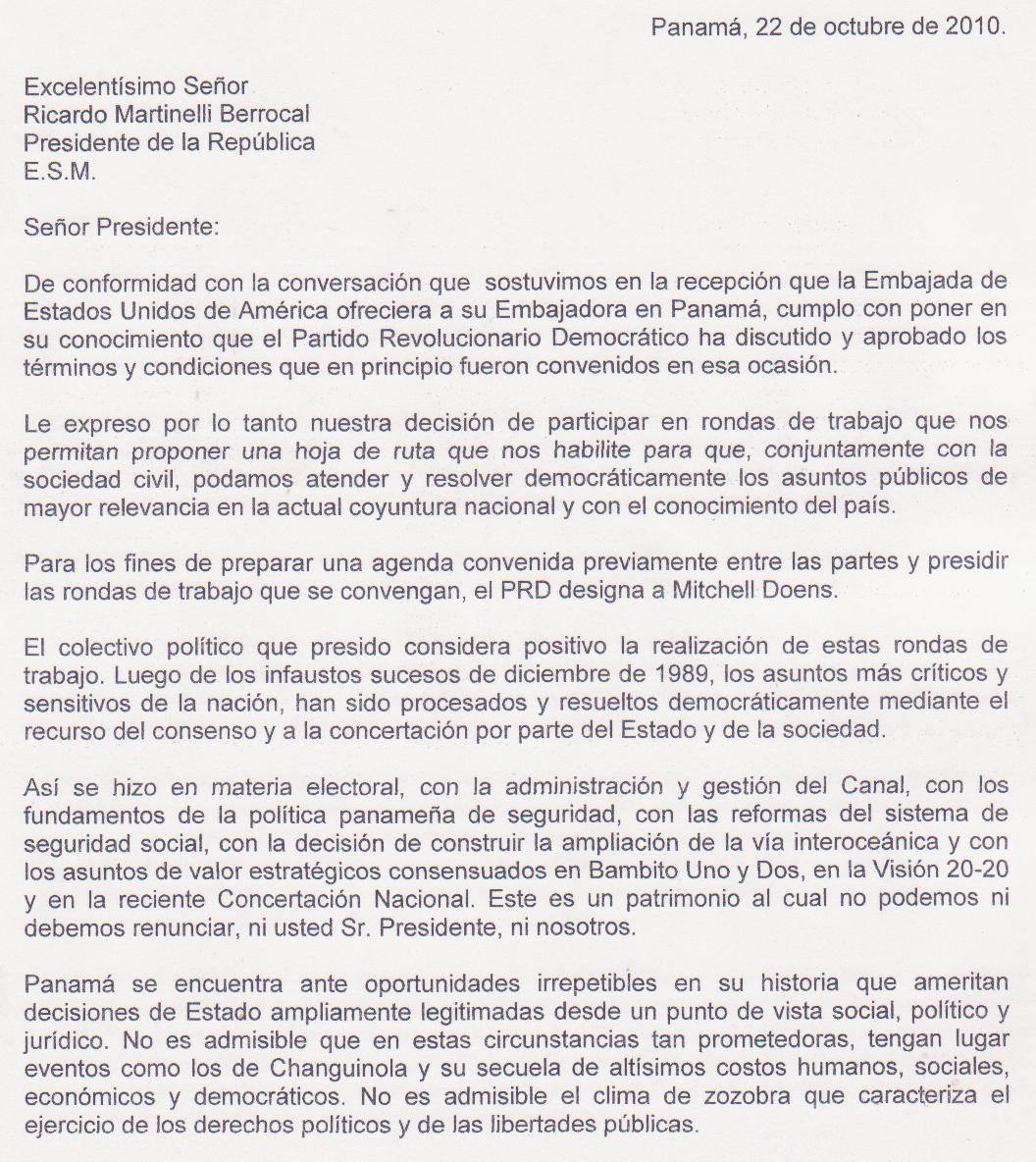 NOTA AL PRESIDENTE RICARDO MARTINELLI