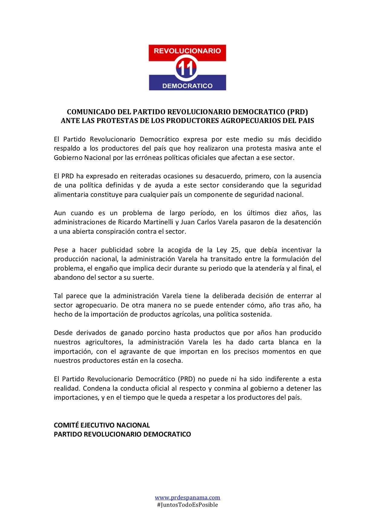 comunicado-prd-ante-protestas-agropecuario-panama-politica